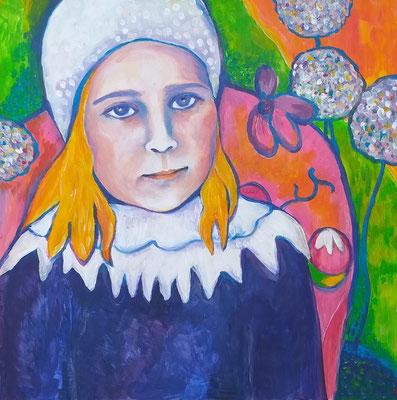 EMILY inspired by Gauguins LOULOU. Acryl auf Malplatte. 40x40cm.