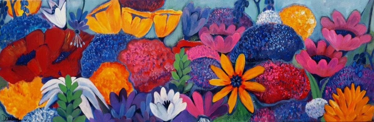 Flowers. 50x150x2cm. Acryl auf Leinwand.