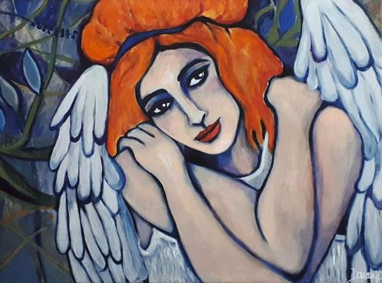 Guardian Angel. 60x80x2cm. Übermalter Druck auf Leinwand. Euro 300,--