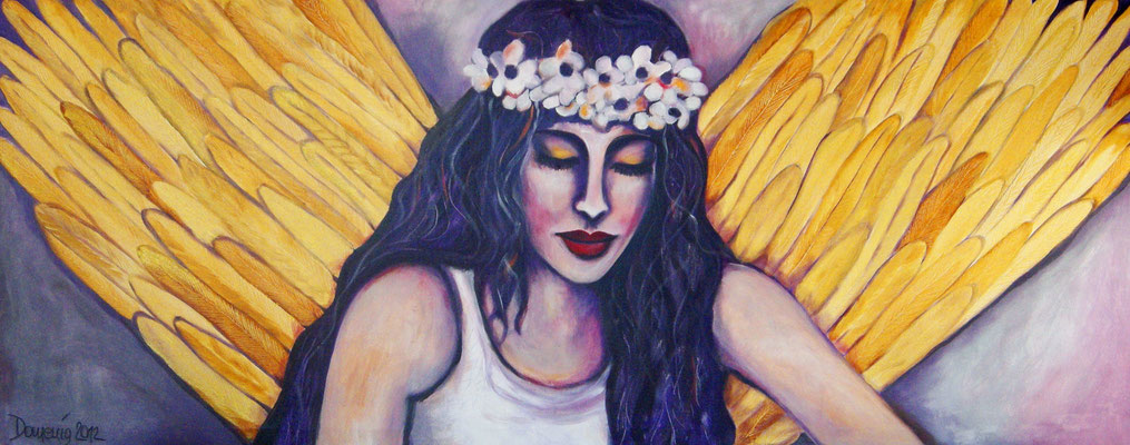 Guardian Angel for Sonja. 50x150x2cm. Acryl auf Leinwand.