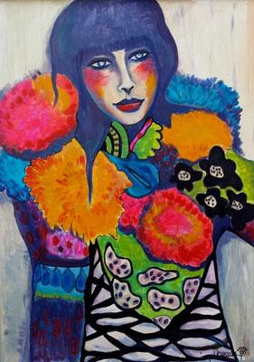 Japanese girl. Acryl auf Holzplatte. Gerahmt. 89x59,5cm.