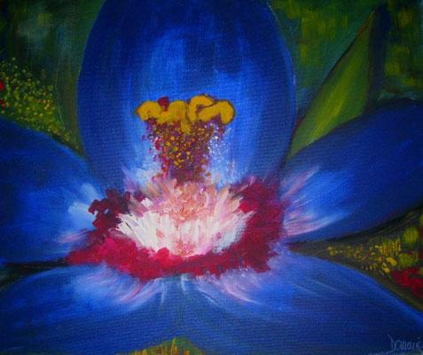Blue Blossom. 40x50x2cm. Acryl auf Leinwand.