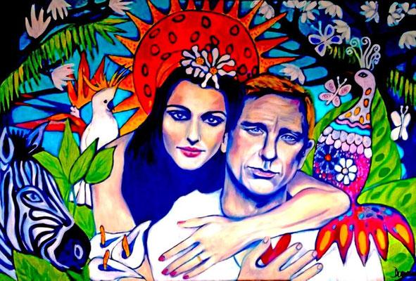 You and me in Paradise. (Daniel &  Rachel). 80x120x2cm. Acryl auf Leinwand.