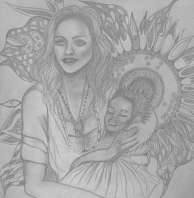 Sunflower. 30x30cm. Bleistift auf Papier. Eruo 230.