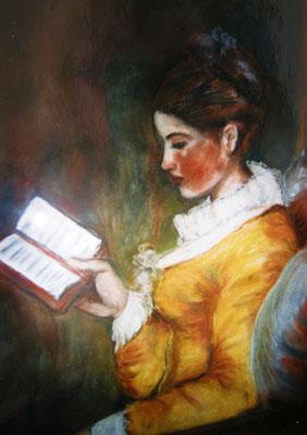 Lesendes Mädchen nach Fragonard. Pastellkreide auf Holzplatte.
