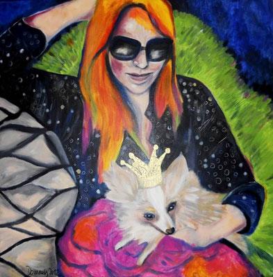 Vanessa & her Chihuahua Princess. 80x80x2cm. Acryl auf Leinwand.