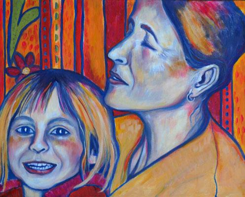Mama und Valentina. 30x40cm. Acryl auf Leinwand.