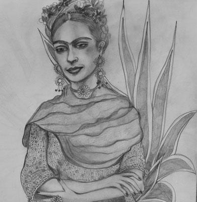 Frida. 30x30cm. Bleistift auf Papier. Euro