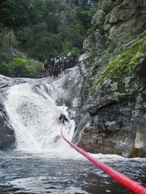 canyoning haut languedoc - gros débit dans le rec grand