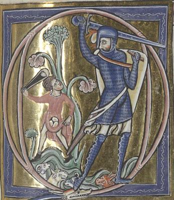 1225 ; BNF Arsenal ; Psautier de St Louis et Blanche de Castille f077r ; David et Goliath