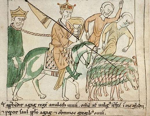 1197 ; BM Amiens ; Bible de Navarre MS 108 f083 ; Saül vainqueur des Amalcéites et Agag captif