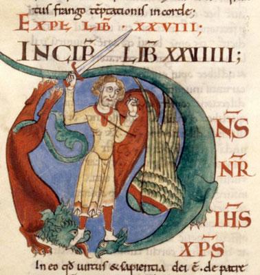 1111 ; Dijon BM ; MS 0173 f111v ; Morales sur Job par Grégoire le Grand ; Homme luttant contre un lion et un dragon