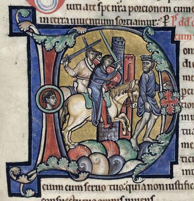 Dernier Quart XIIe s. BL Harley ; MS 2895 f81v ; David fuyant devant Absalon