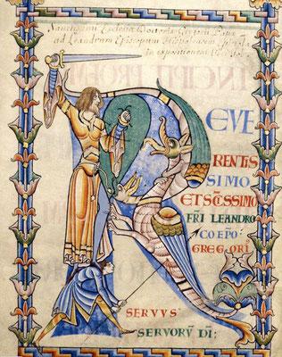 1111 ; Dijon BM ; MS 0168 f004v ; Morales sur Job par Gregoire le Grand ; Chevalier et serviteur combattant un hybride zoomorphe