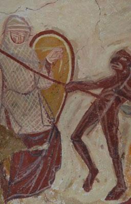 XIIe s. Eglise St Nicolas de Tavant, Peinture murale de la crypte