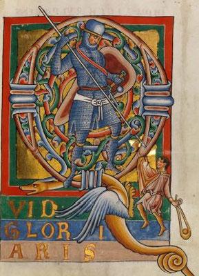 1230-1240 ; Staatsbibliothek Bamberg ; Bamberger Psalter Msc.Bibl.48 f129 ; David et Goliath