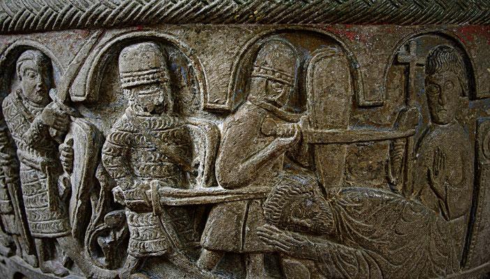 fin du XIIe s. ; Eglise de Lyngsjo en Suède ; Assassinat de Thomas Becket ; photographie par Sven Rosborn