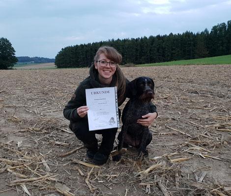 Ava vom Heuwald mit ihrer Hundeführerin Katharina Schmied, 180 Pkt., Armbruster-Haltabzeichen