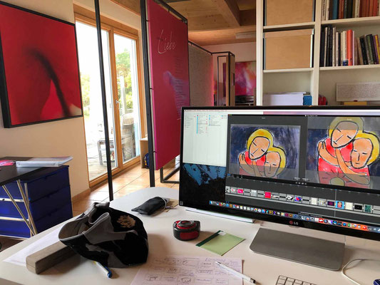 """Arbeitsplatz mit Szene Videoerstellung am Mac """"Signatur Liebe"""""""