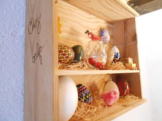 """©Sellen. Collection d'oeufs originaux pour décorer la chambre """"Le Poulailler"""".  au gîte"""