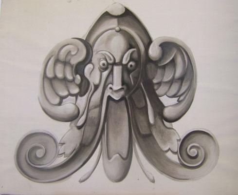 Graumalerei ca. 80 x 110 cm