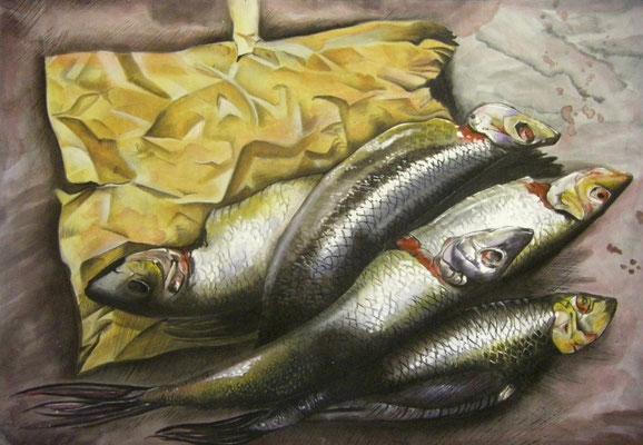 Prospektmalerei auf Nessel, ca. 150 x 220 cm