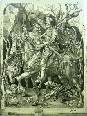 "Prospektmalerei nach Albrecht Dürer Kupferstich ""Ritter, Tod und Teufel"" ca. 200 x 150 cm"