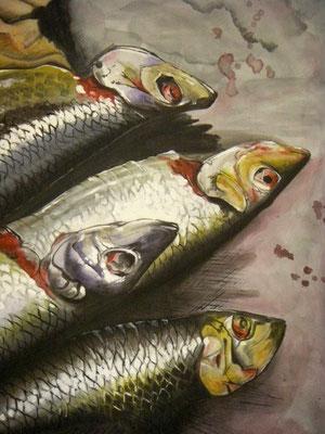 Prospektmalerei auf Nessel, ca. 150 x 220 cm / Detail