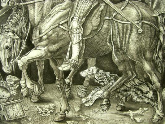 "Prospektmalerei nach Albrecht Dürer Kupferstich ""Ritter, Tod und Teufel"" ca. 200 x 150 cm / Detail"