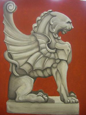 Graumalerei mit rotem Hintergrund ca. 100 x 80 cm