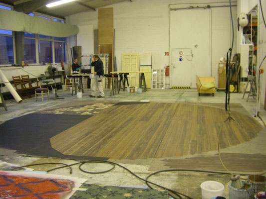 Holzimitation auf Bodentuch 5 m Durchmesser