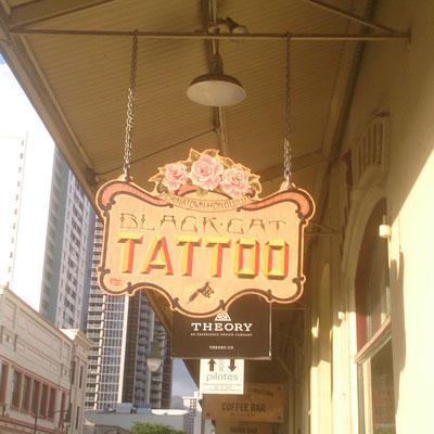 Black cat tattoo Honolulu