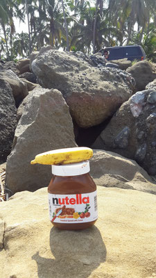 ...Nutella auch nicht! Frühstück am Strand...
