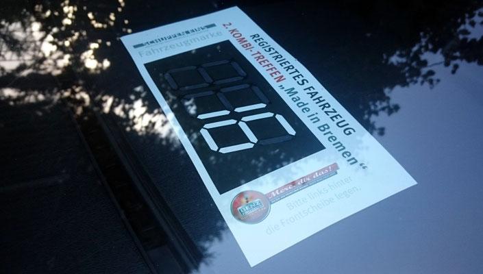 Jedes Teinahmefahrzeug bekam eine Registrierungsnummer