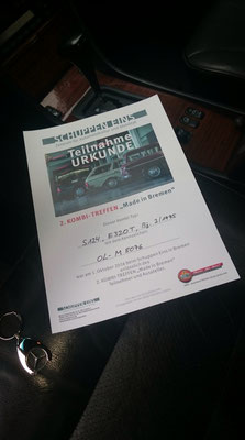 Urkunden gab es für jeden Teilnehmer! Sonderurkunden und Preise für besondere Fahrzeuge