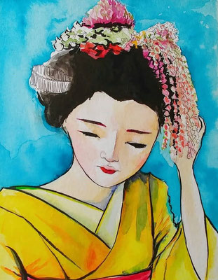 Turquoise flowery japanese style