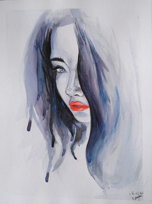 Blue girl with red Lips