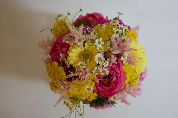 pink gelber Brautstrauß