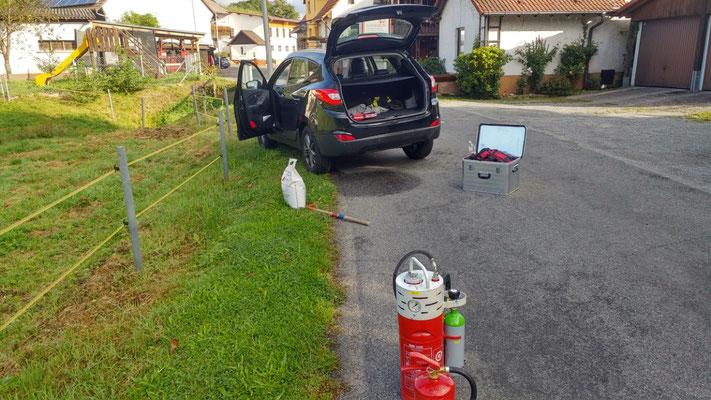 Mit Highpress und Pulverlöscher wird der Brandschutz direkt am Fahrzeug sichergestellt