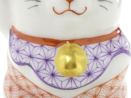 九谷焼 チビ招き猫 赤絵細描 木箱入り