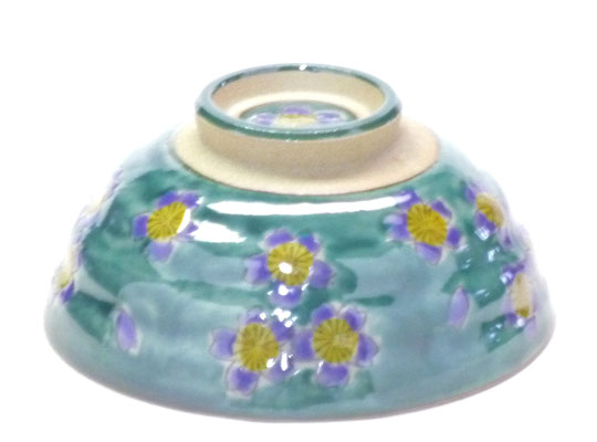 九谷焼通販 おしゃれな飯碗 茶碗 ご飯茶碗 グリーン地桜 裏絵 正面の図