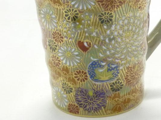 九谷焼『マグカップ』加賀のお殿様・お姫様キブン(金花詰)『裏絵』