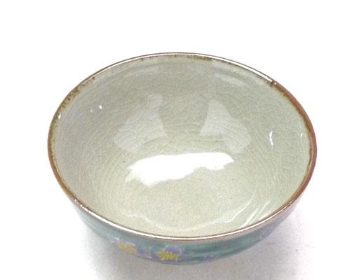 九谷焼通販 おしゃれな飯碗 茶碗 ご飯茶碗 グリーン地桜 裏絵 中の図
