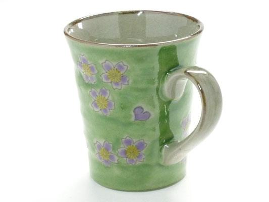 九谷焼『マグカップ』グリーン地桜『裏絵』