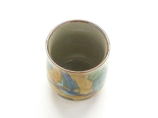 九谷焼【お湯呑】大 吉田屋(濃い塗り)花鳥