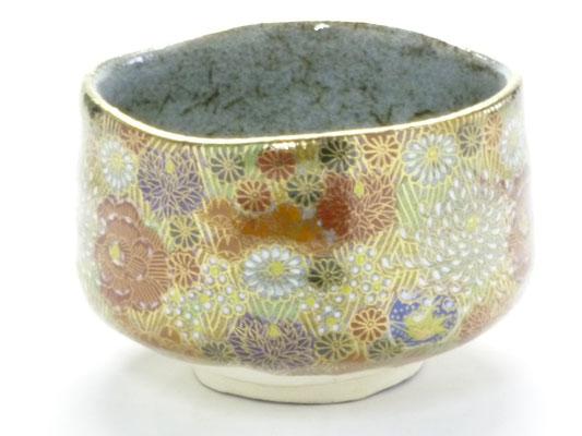 九谷焼 抹茶碗 金花詰