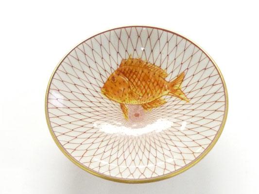 九谷焼『飾り盃』赤絵細描網紋 鯛 黄地赤彩