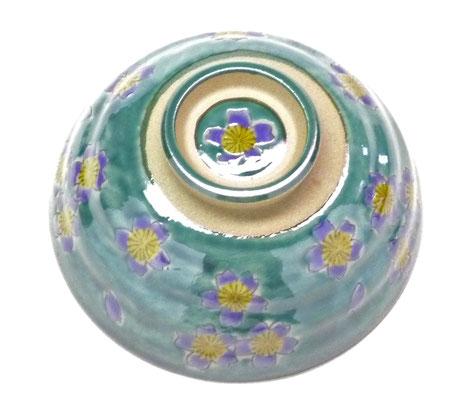 九谷焼通販 おしゃれな飯碗 茶碗 ご飯茶碗 グリーン地桜 裏絵の図