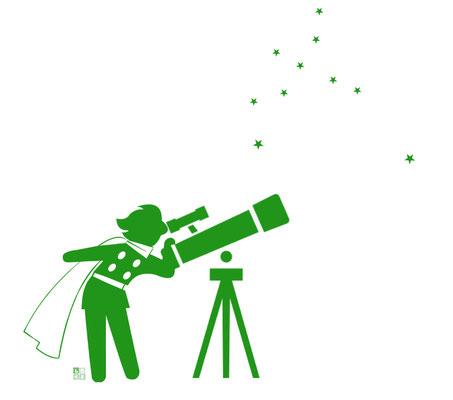 星を見上げるピクトグラム・ジョー 7月8日 おなじくワンドロで描いた絵
