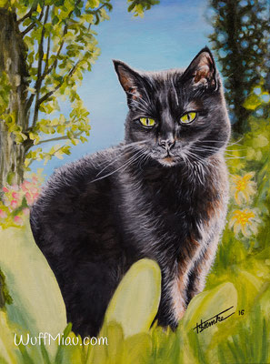 "Katze ""Pinsel"", Acryl auf Leinwand, 40x30, 2016, Katzenmalerei von Hanna Stemke, WuffMiau"